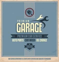 Auto service retro poster design vector image vector image