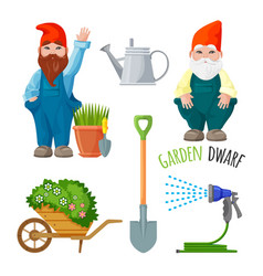 garden dwarf working tools for gardening metal vector image vector image