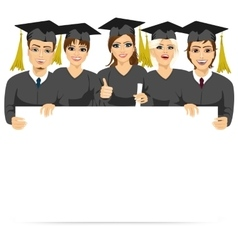 graduate students holding a white board vector image vector image
