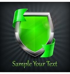 Green shield on black vector image vector image