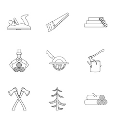 Sawing icons set outline style vector image
