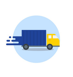 truck in motion express delivery fast shipping vector image vector image