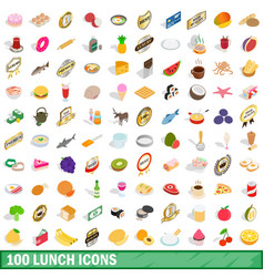 100 lunch icons set isometric 3d style vector image vector image