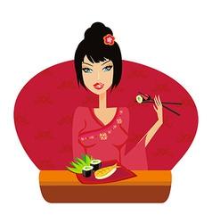 beautiful Asian girl enjoy sushi vector image