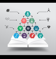 Book with chemistry and science icon vector image