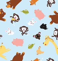 Funny animals pattern including seamless vector image vector image