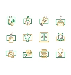 Green and yellow simple line Christmas icon vector image vector image