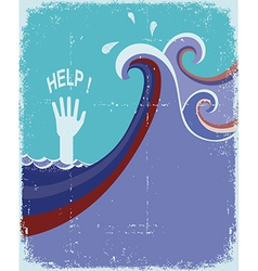 hand of drowning in blue sea waves vector image vector image
