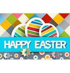 Happy Easter Paper Eggs and Flowers on Diagonal vector image vector image