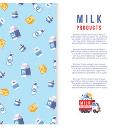 Milk production poster template - farm dairy vector