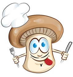 mushroom chef cartoon vector image vector image