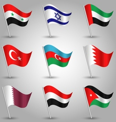 set of flags countries of western asia vector image