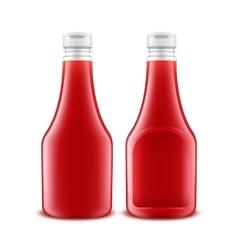 Set of Plastic Red Ketchup Bottle for Branding vector image