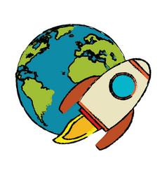 world rocket flight around vector image