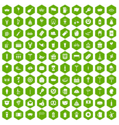 100 beer party icons hexagon green vector