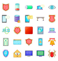 Abduction of data icons set cartoon style vector