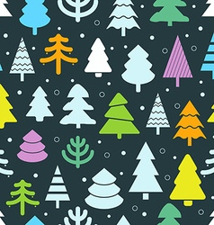 Abstract color christmas trees seamless background vector image