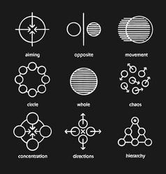 abstract symbols chalk icons set vector image