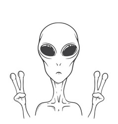 Alien shows peace sign vector