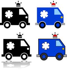 Ambulance icon set vector