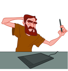 Angry bearded man thinking what to draw on a vector