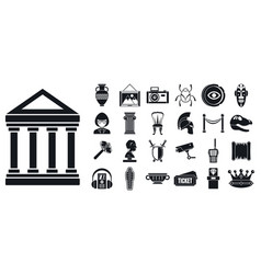 art museum icon set simple style vector image