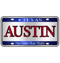 Austin texas license plate vector