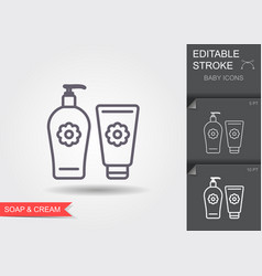 Baby soap and cream line icon with editable vector