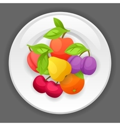 Background design with plate and stylized fresh vector image