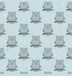 blue seamless background with owls vector image