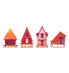 bungalows beach houses on piles with terrace vector image