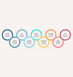 Business infographics timeline with 9 steps vector