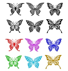 Butterfly set in colorful and monochrome style vector image