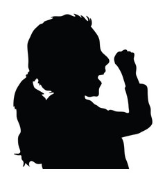 children silhouette figure in black color vector image
