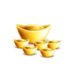 chinese gold ingot symbols set 3d realistic vector image