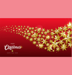 Christmas and new year gold star design web banner vector