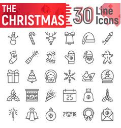 christmas line icon set new year symbols vector image
