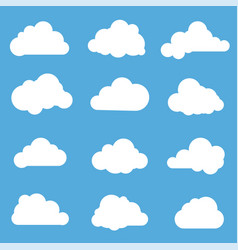 clouds flat design elements set vector image