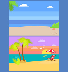 coastal view posters set tropical beach sea sand vector image
