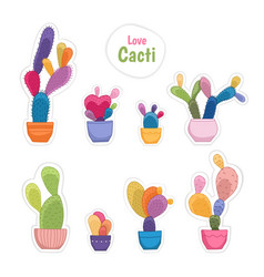 colorful potted cacti plants patch sticker set vector image