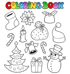 Coloring book christmas images 1 vector