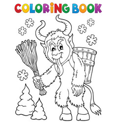 Coloring book krampus theme 1 vector