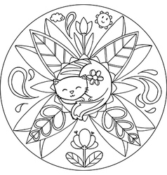 Coloring Cat Mandala vector image