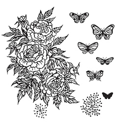 contour flower vector image