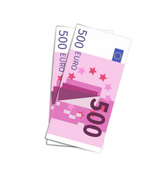 couple of simple five hundred euro banknotes on vector image