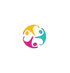 Creative colorful three people logo vector