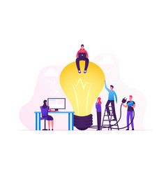 Creative crisis teamworking and searching idea vector