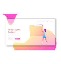 Customer base landing page template document vector