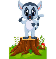 cute baby lemur presenting on tree stump vector image