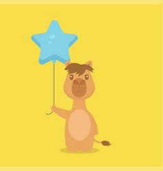 Cute camel holding balloon free vector